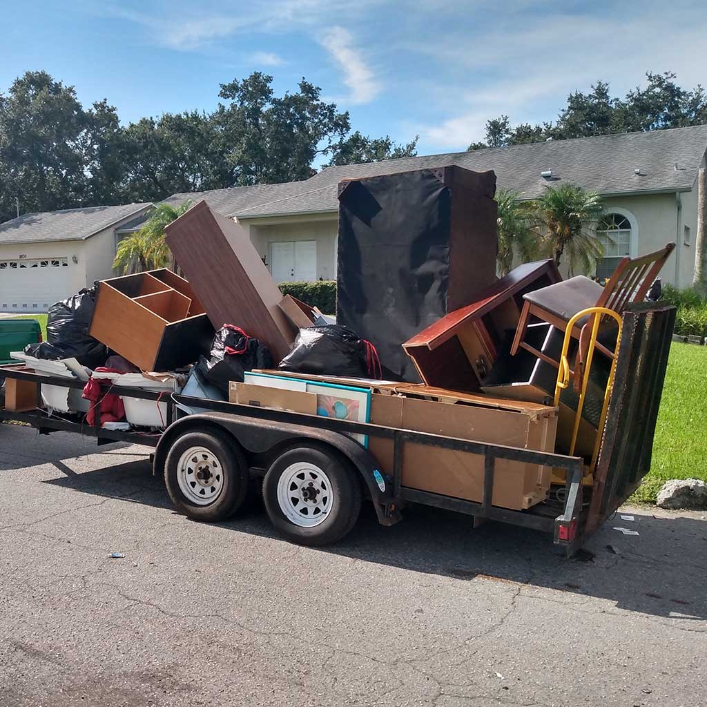 Junk Hauling in Tampa, Trailer Full with Junk