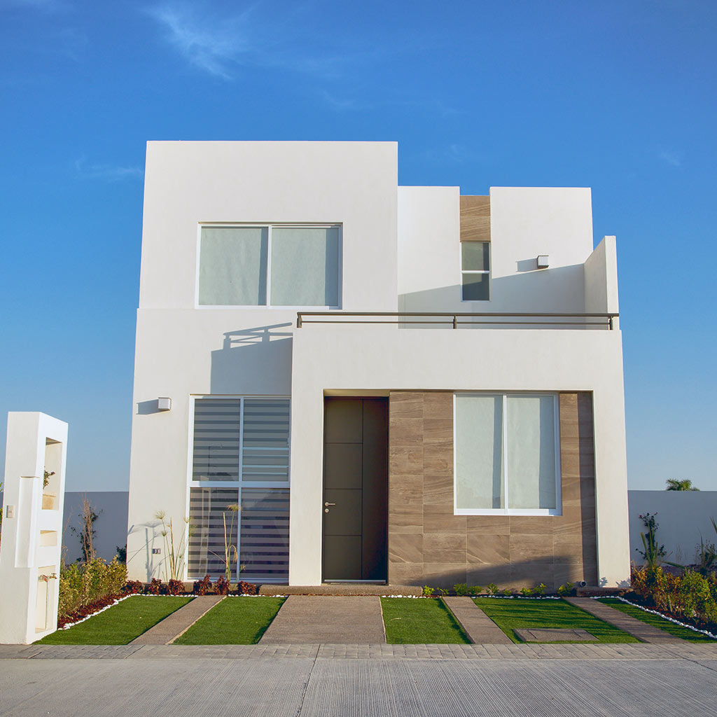 Beautiful house with minimalist architecture, sunny day